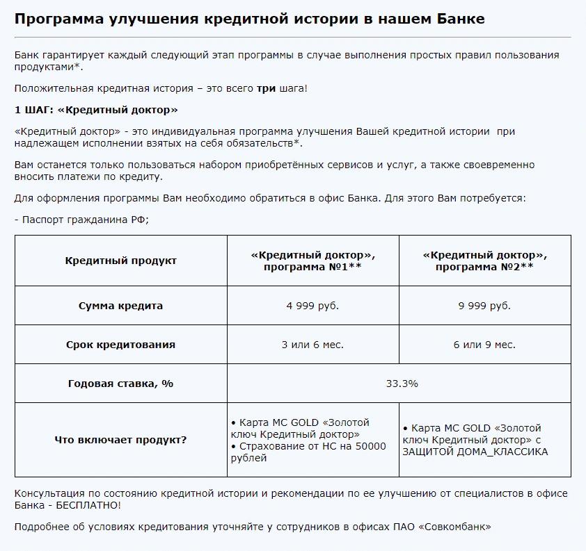 Программа улучшения кредитной истории в Совкомбанке